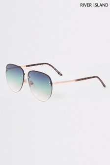 River Island Gold Aviator Green To Pink Lens Sunglasses