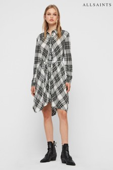 AllSaints Black White Tala Check Dress