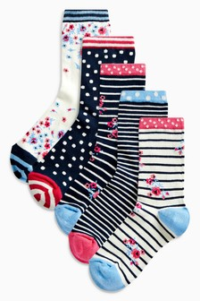 Floral Stripe Pattern Ankle Socks Five Pack