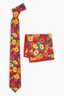 Floral Print Cotton Tie And Pocket Square Set