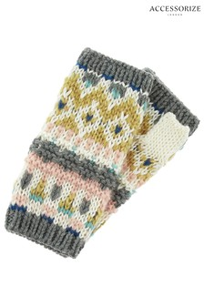 Accessorize Fairisle Pattern Cut Off Gloves