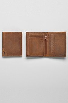 Leather Corner Stag Detail Wallet