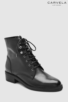 Carvela Black Leather Skewer Lace-Up Ankle Boot
