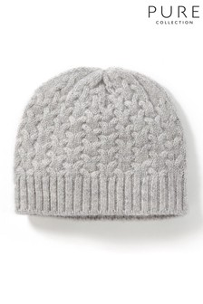 Pure Collection Grey Cashmere Baby Cable Hat