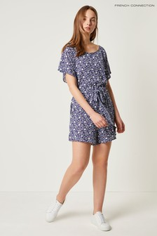 French Connection Blue Mollara Meadow Jersey Sleeve Playsuit
