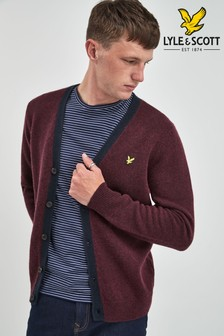 Lyle & Scott Burgundy Contrast Placket Cardigan