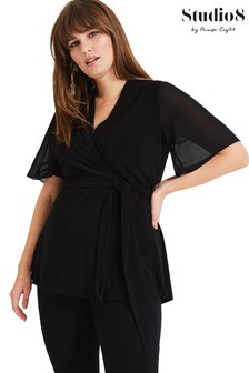 Studio 8 Black Bernice Wrap Top