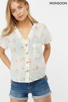 Monsoon Ladies White Tamara Palm Print Shirt