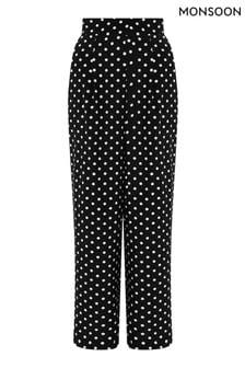 Monsoon Black Spot Wide Leg Trousers With Lenzing™ Ecovero™