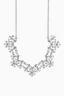 Funkelnde Halskette mit Blumen-Schmucksteinen