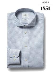 Moss 1851 Bügelfreies Tailored Fit-Hemd mit einfachen Tupfen, marineblau