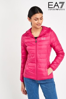 EA7 Pink Hooded Logo Jacket