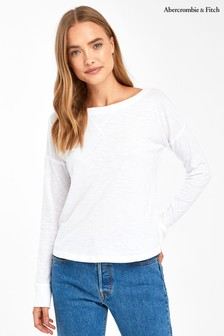 Abercrombie & Fitch Weiches T-Shirt mit langen Ärmeln, weiß
