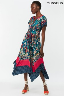 Monsoon Ladies Blue Luciano Print Hanky Hem Midi Dress