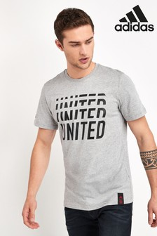 adidas Grey Manchester United Football Club DNA T-Shirt