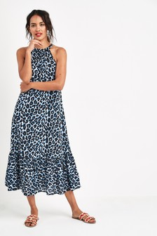 Sukienka z odkrytymi plecami we wzory zwierzęce