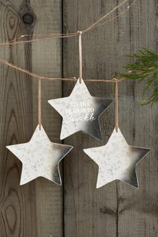 Set of 3 Antique Effect Glass Star Baubles