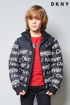 Jachetă DKNY neagră cu text căptușită