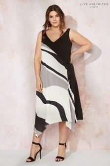 Live Unlimited Black Wavy Print Hanky Hem Dress