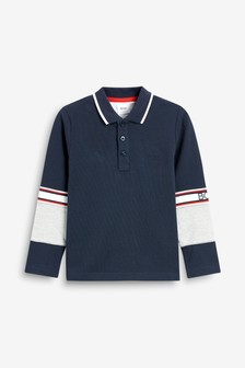 BOSS by Hugo Boss Navy Long Sleeve Polo