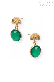 Oliver Bonas Green Marisol Semi Gold Plated Brass Drop Earrings