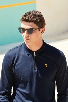 Long Sleeve Zip Neck Badge Polo