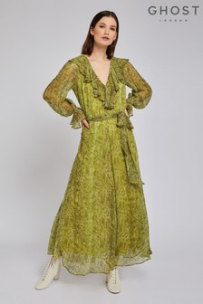 Ghost London Green Jemima Embroidered Crepe Dress