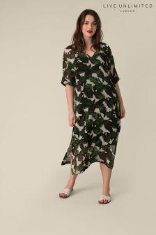 Live Unlimited Banana Leaf Print Dress