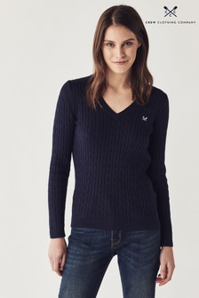 Crew Clothing Company Blue Heritage Cable Jumper