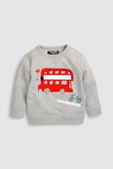 Топ с круглым вырезом и аппликацией автобуса (3 мес.-6 лет)