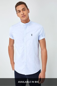 Short Sleeve Slim Stretch Oxford Grandad Shirt