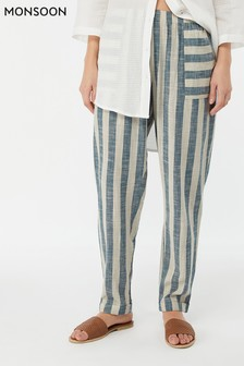Monsoon Ladies Blue Sandy Stripe Yarn Dye Trouser