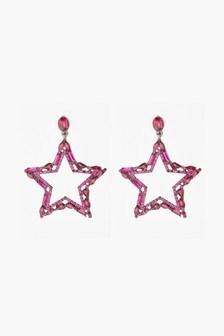 Star Motif Stud Drop Sparkle Earrings
