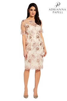 4803dc1de7f Adrianna Papell Nude Short Embroidered Dress