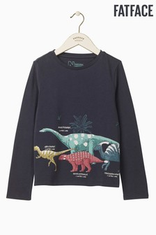 FatFace Nhm T-Shirt mit Dinosaurier-Grafik, blau