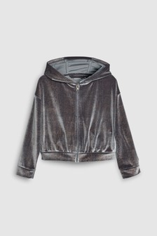 Velour Metallic Zip Through Hoody (3-16yrs)