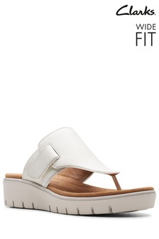 Clarks Wide Fit White Un Karely Sea Sandal
