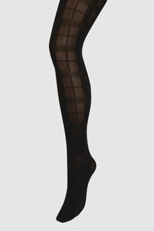 Opaque Check Pattern Tights One Pack
