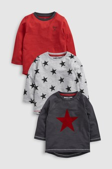Star Long Sleeve T-Shirts Three Pack (3mths-6yrs)