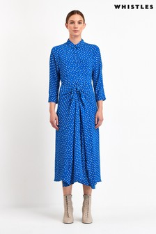 Whistles Blue Abstract Spot Selma Dress