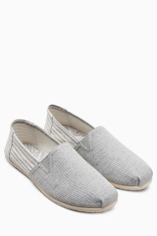 Stripe Canvas A-Line Slip-On