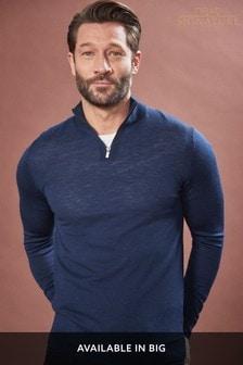 Merino-Pullover mit Reißverschluss-Ausschnitt
