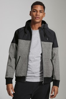 Block Zip Through Hoody With Nylon Panel