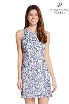 Adrianna Papell Elise A-Linien-Kleid mit Spitze, Blau
