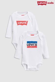Levi's® Kids White Bodysuit Two Pack Set