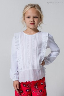 Angel & Rocket White Pintuck Top