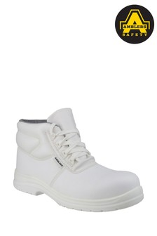 Amblers Safety White FS513 Metal-Free Water-Resistant Lace-Up Safety Boots