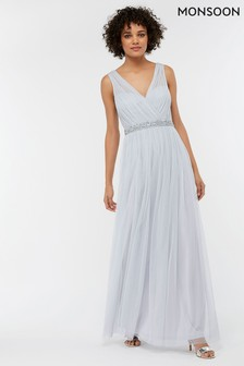 Monsoon Blue Elyse Embellished Waist Tulle Maxi Dress