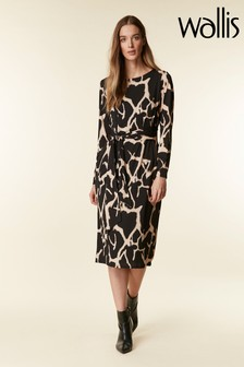 Wallis Black Animal Print Jersey Midi Pencil Dress