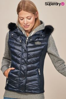 Superdry Luxe Chevron Double Faux Fur Trim Gilet